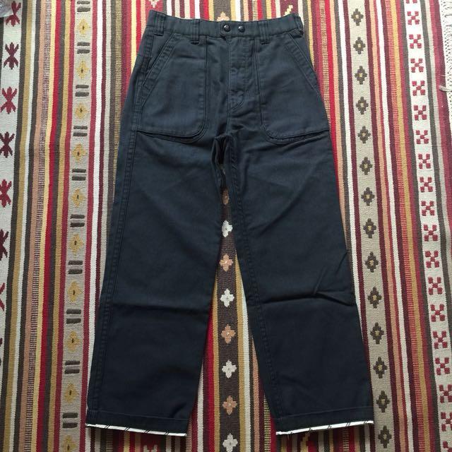 日本製 white Mountaineering 休閒褲 工作褲 人字紋 HBT 海軍藍 outdoor 古著