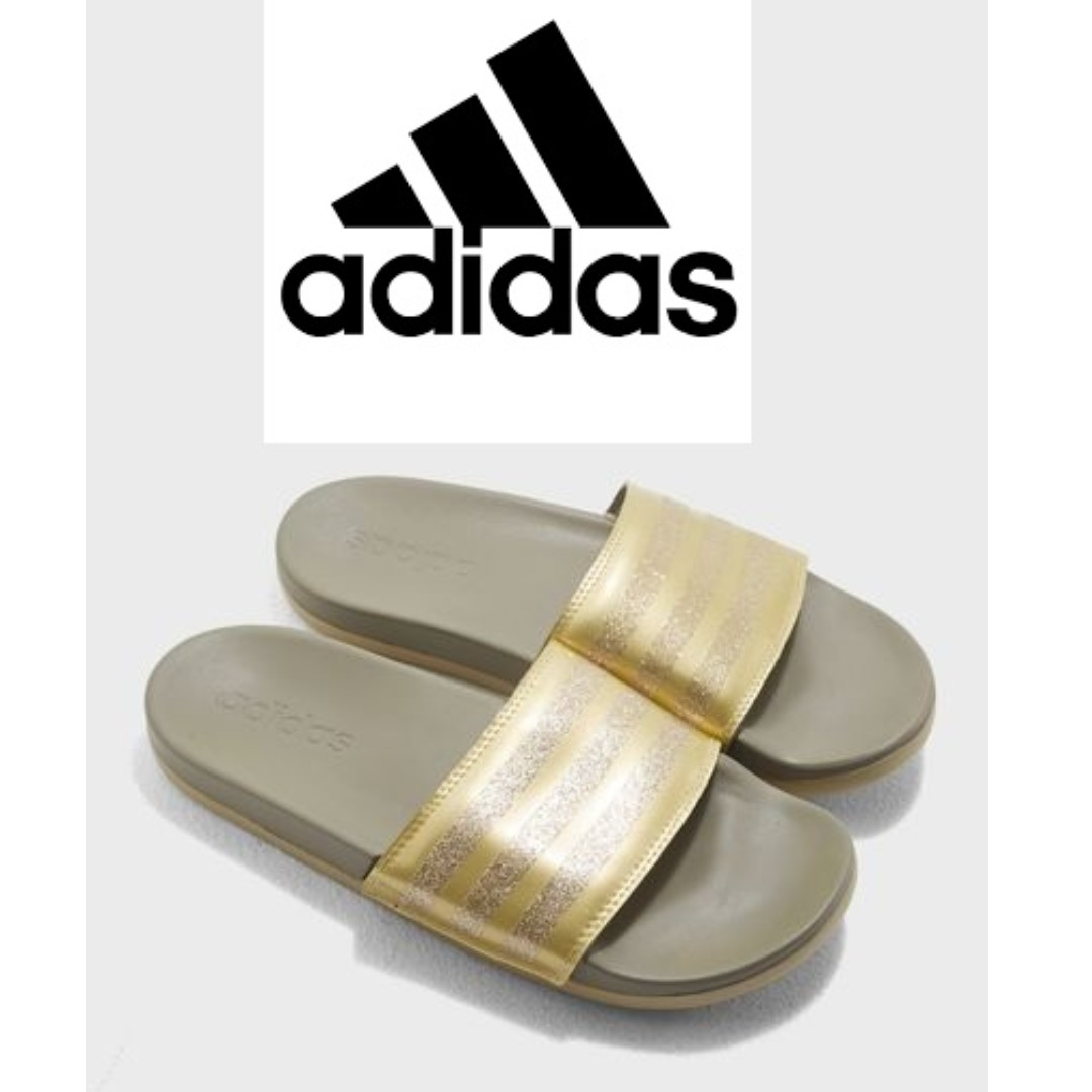 3250286e7 adidas W Training Adilette Cloudfoam Plus Explorer Slides -GOLD ...