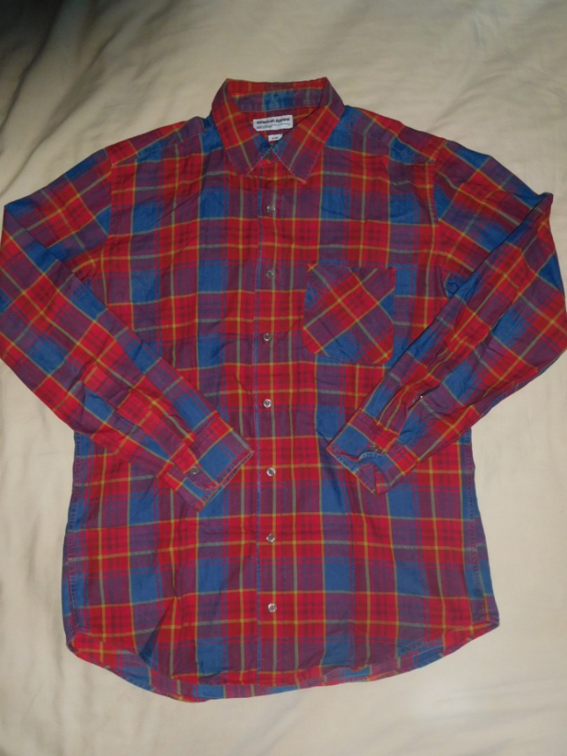 American Apparel Plaid Button Up Shirt Size L