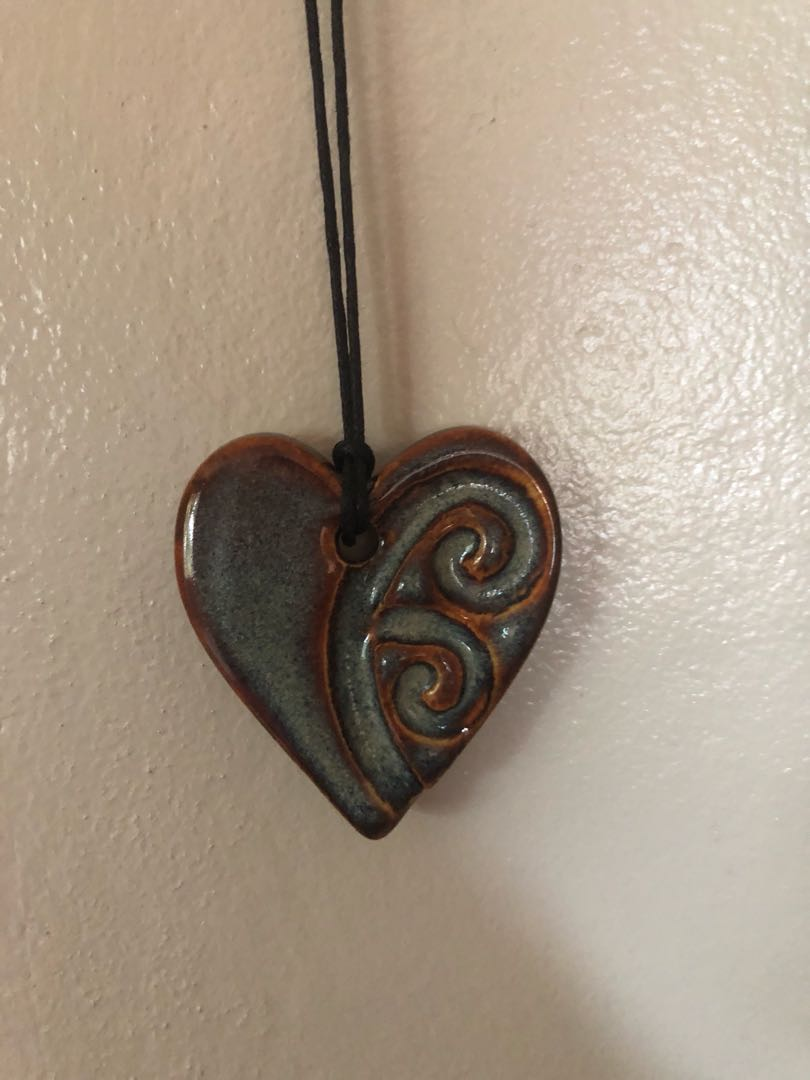 Artisan clay mosaic necklace
