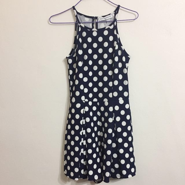 (AU 6) Navy Polka Dot Playsuit