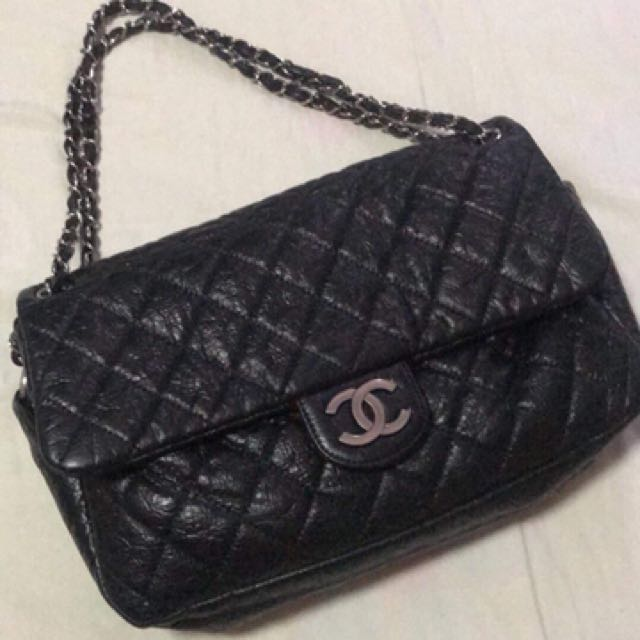 Authentic Chanel Black Aged Calfskin Series 12