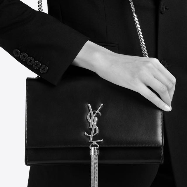 Authentic YSL Saint Laurent Medium Kate Tassel Chain Bag in Black & Gold