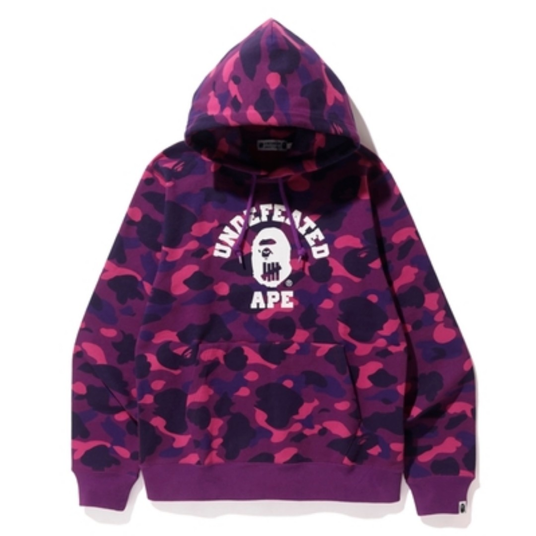 4eaff84f982a BAPE x Undefeated Color Camo College Pullover Hoodie