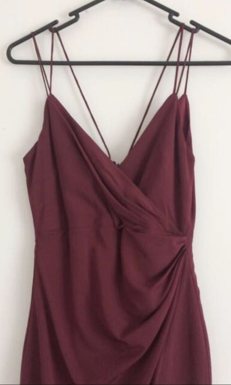 Bardot wine burgundy red slit long formal dress