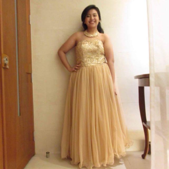 Beige Plus Size Long Gown
