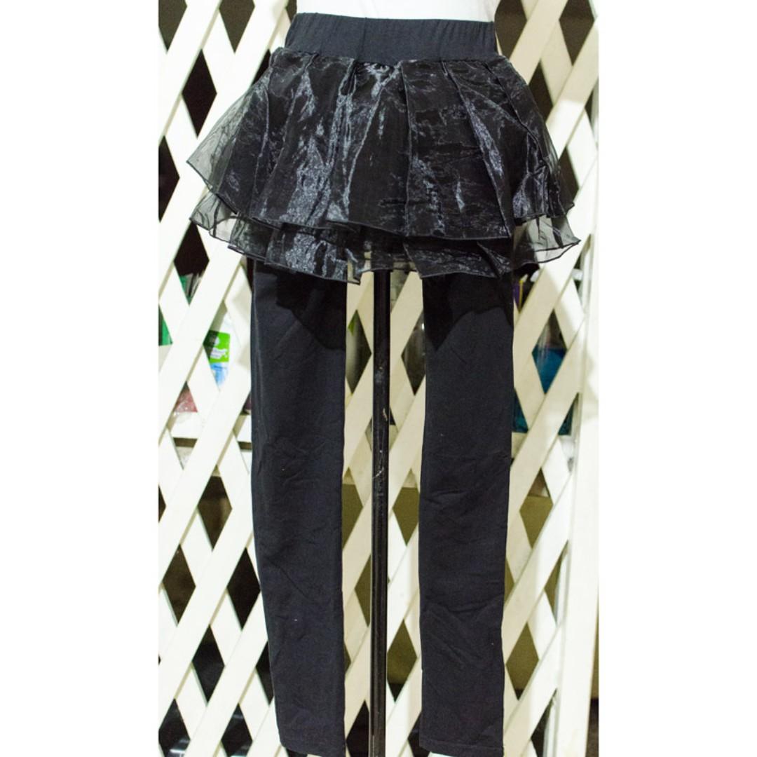 Black Leggings with Tulle Skirt