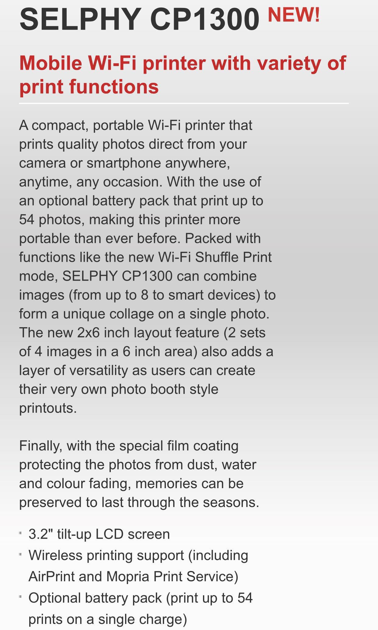 *BN* Canon Selphy CP1300 + Canon Photo Paper Set