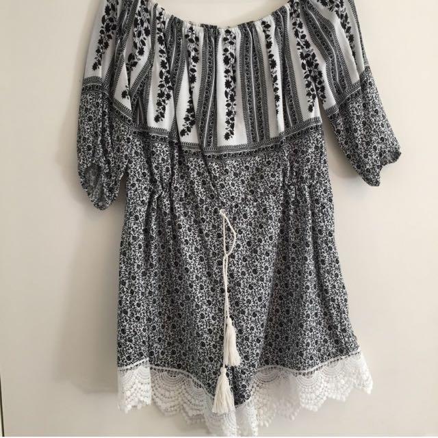 Bohemian Black & White Playsuit