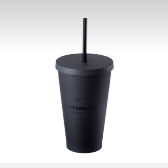 Brand New Starbucks Matte Black Cold Cup Tumbler With Straw