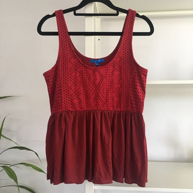BRAND NEW Suede Red Peplum Top