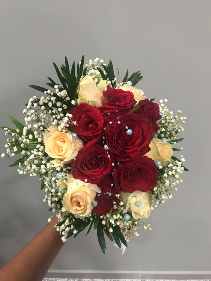 Bridal Bouquet Red White Roses Design Craft Handmade Craft