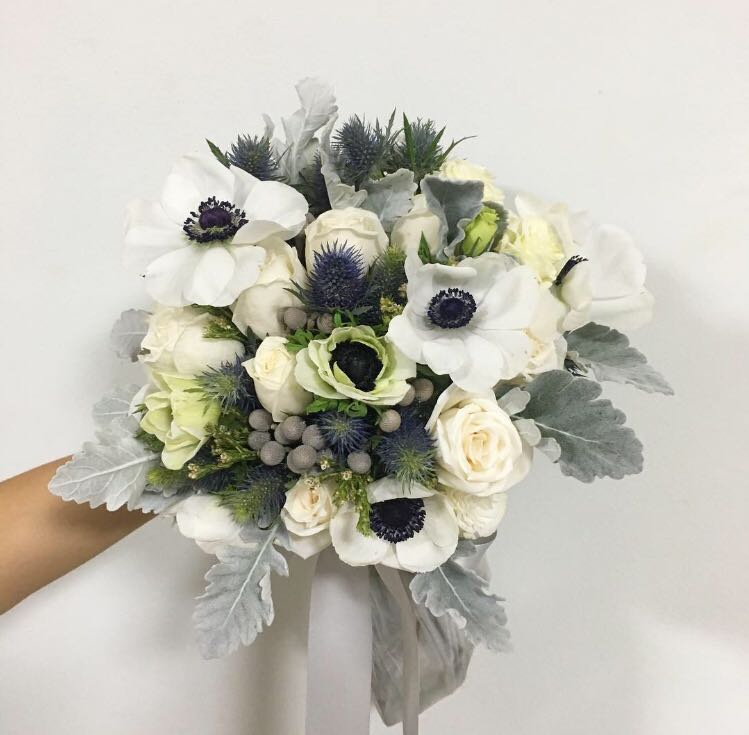 Bridal Bouquet In White Blue And Silver Theme White Wedding