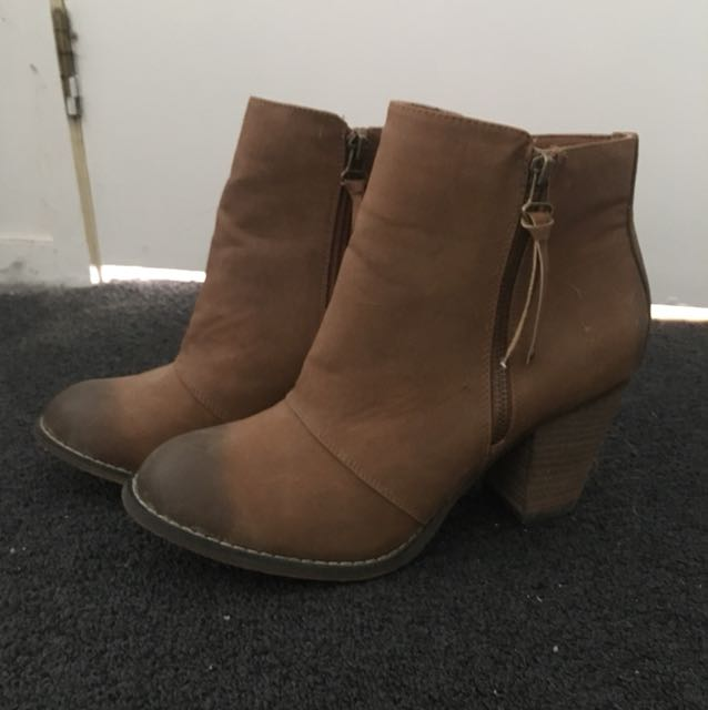 Brown heeled booties