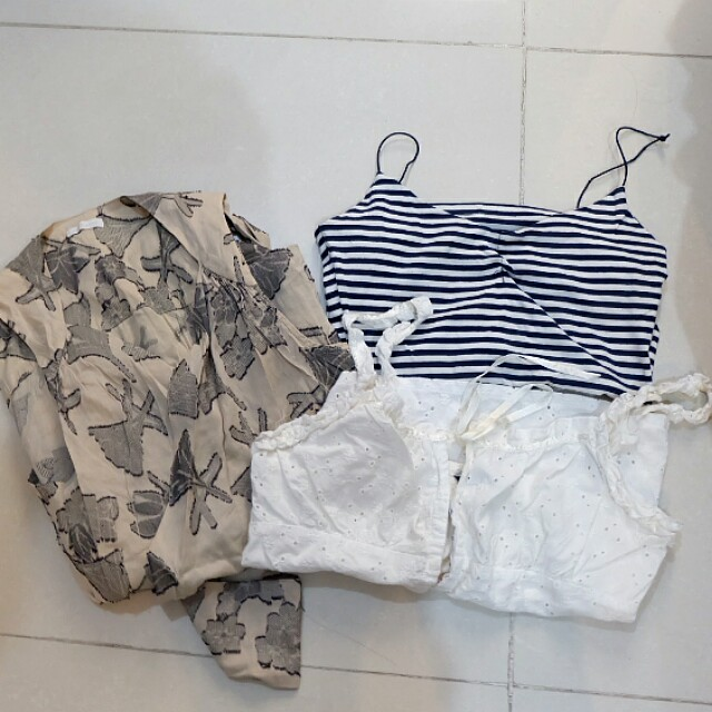 Bundle: Assorted Tops (Zara Stripes, Eyelet Top, Wrap around)