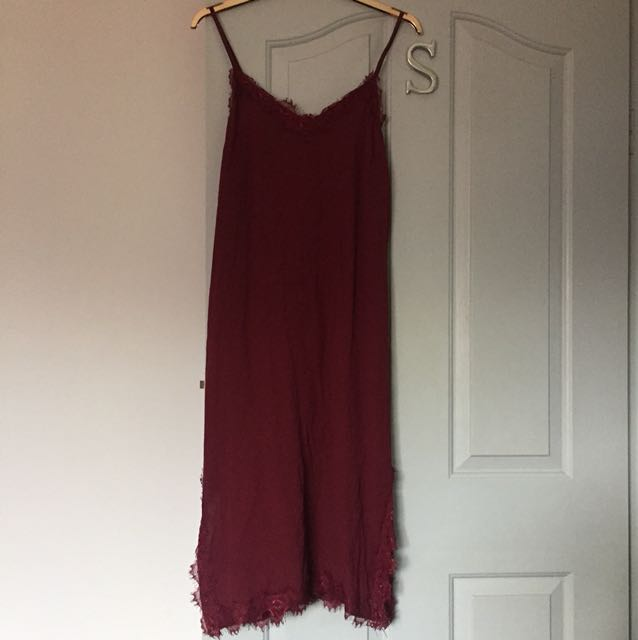 Burgundy Slip Dress with lace detailing