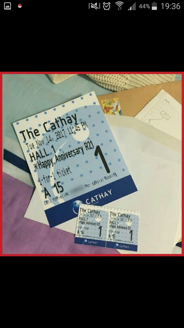 """Customisable """"Cathay Cinema Movie Ticket"""" Card For Special Occasions"""