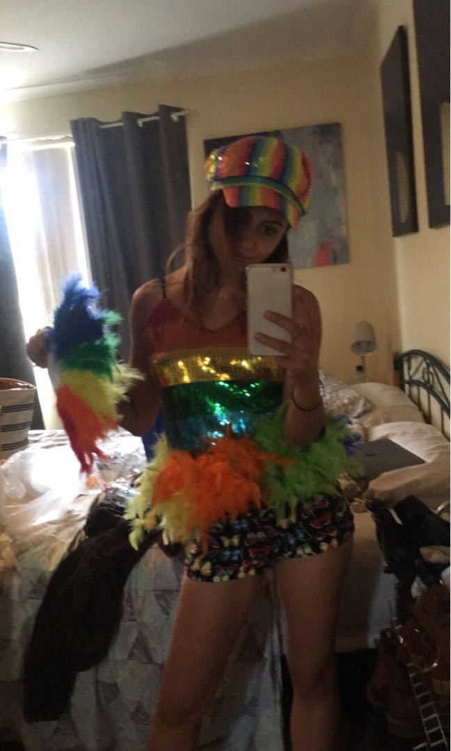 Complete rainbow mardi gras outfit