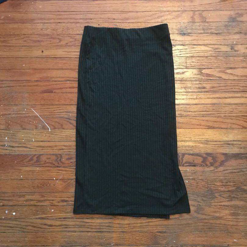 F21 dark green midi bodycon skirt