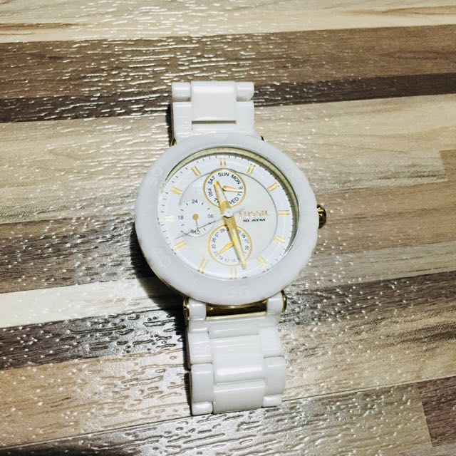 《降價!》FOSSIL 白色簡約時尚陶瓷錶