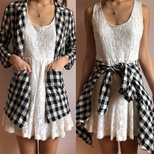 Free size   Black & White Checkered/Gingham Cardigan