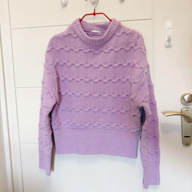 Gu馬卡龍紫毛衣