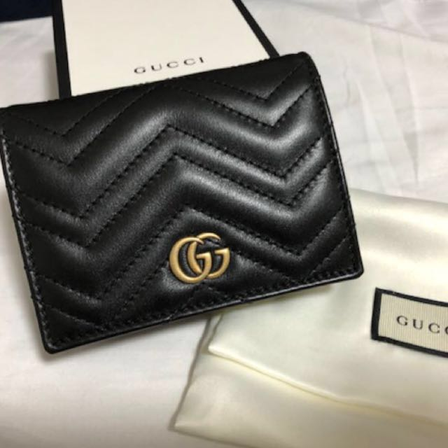 new style 6a8f3 61ac9 Gucci Black GG Marmont Card Case Small Wallet 細銀包 Coins