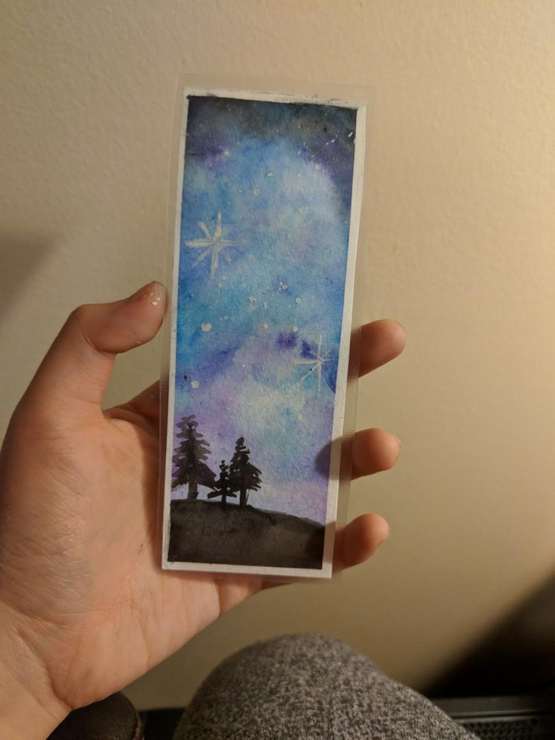 Hand made watercolor bookmark