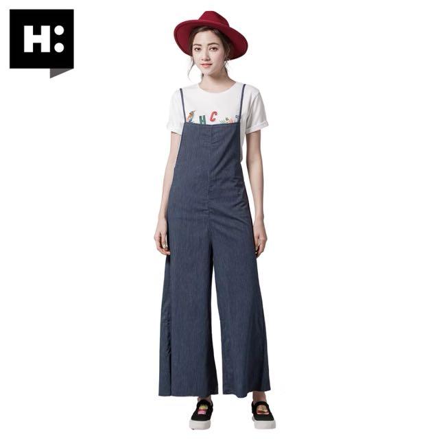 H:Connect條紋吊帶褲