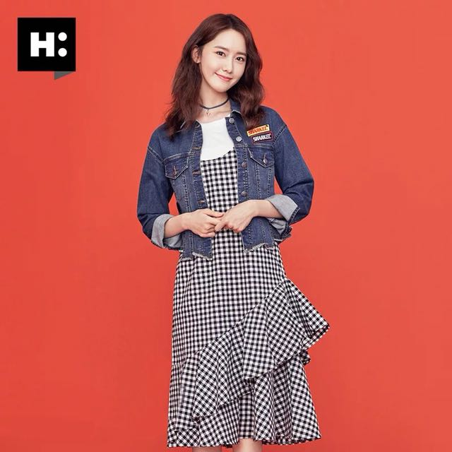H:Connect格紋吊帶裙