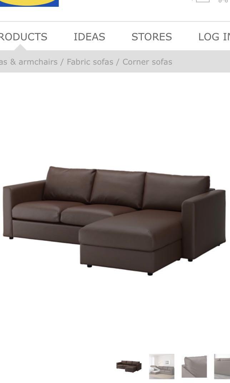 Ikea VIMLE 3-seat sofa chaise longue, Furniture, Sofas on Carousell