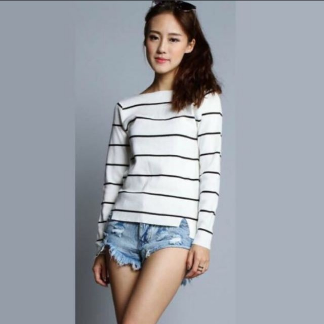 49e97bf4f39666 INSTOCKS) Basic Stripe Long Sleeve Square Neck Top!, Women's Fashion ...