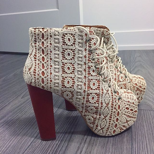 Jeffrey Campbell White Lace Heel Boots
