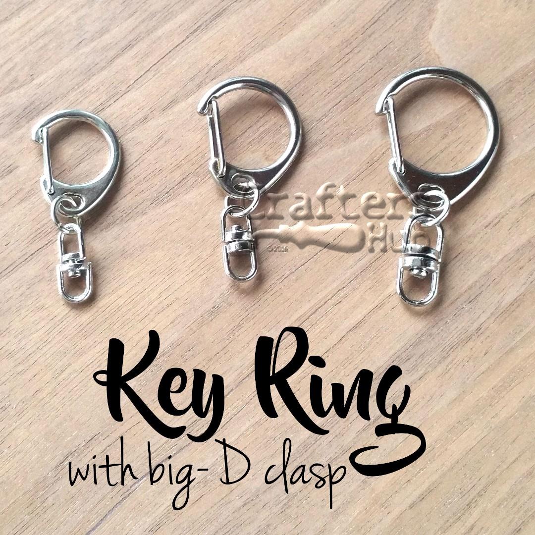 Key Ring / Keychain / Big D Clasp + Swivel Connector / DIY