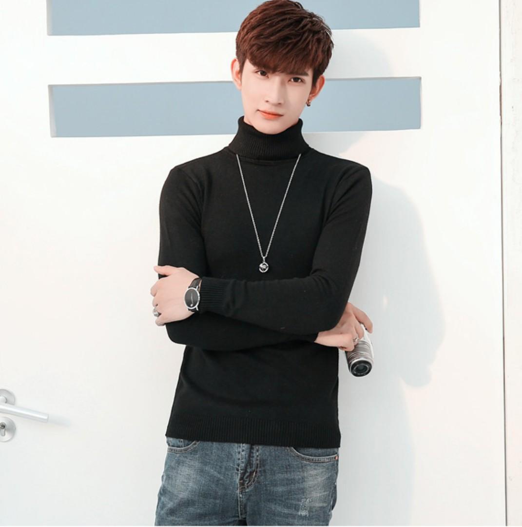 Korean Men High Collar Tight Knit Sweater Men S Fashion Clothes On