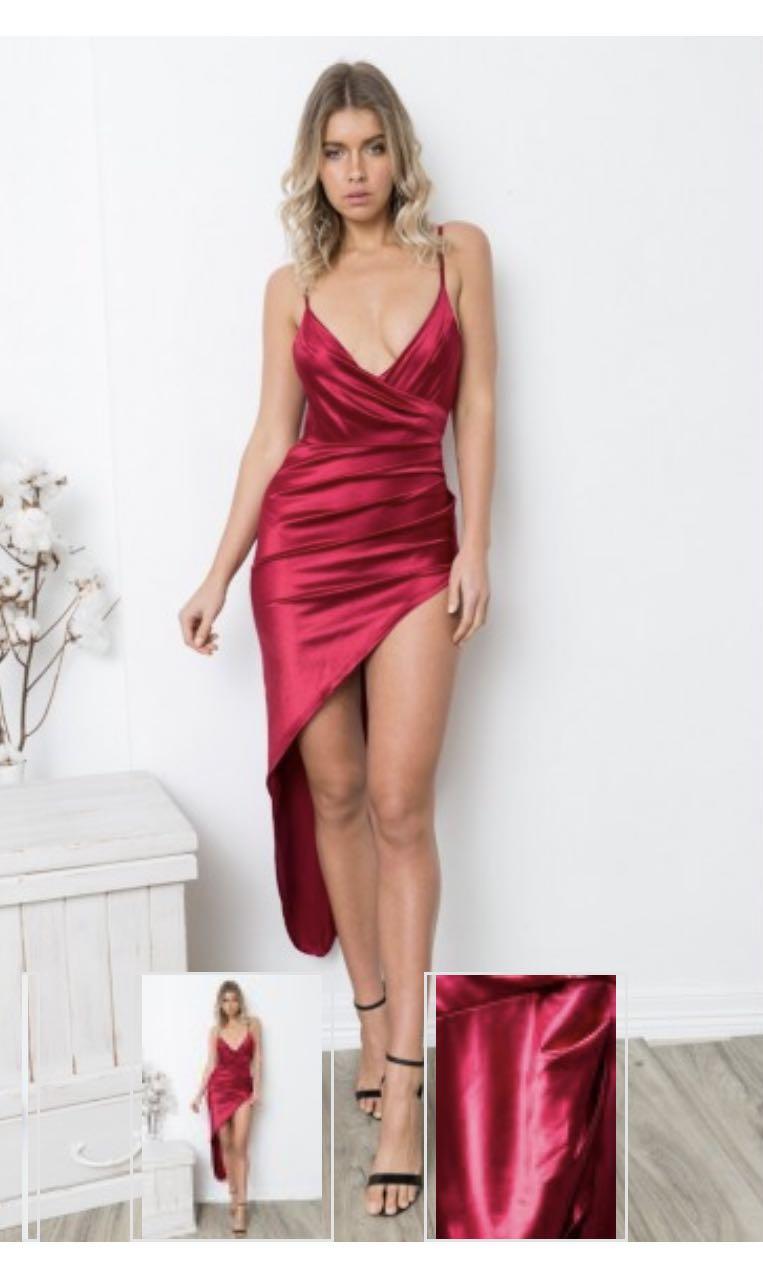 Maroon high thigh split dress