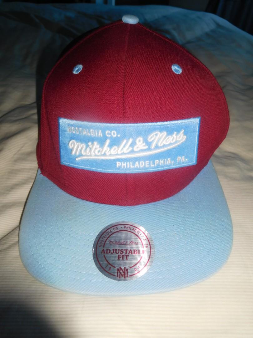 Mitchell & Ness 2-tone Label Snapback Hat Burgundy/Light Blue