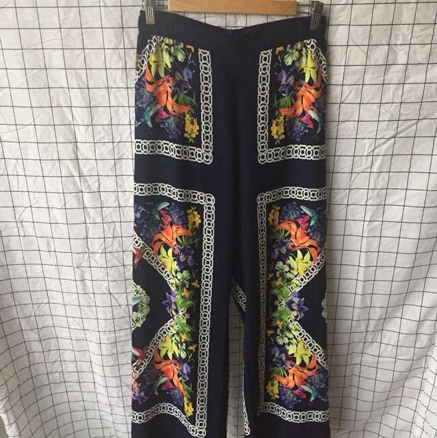 Navy printed pants