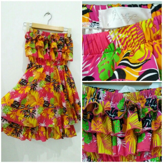 Neon Tropical Floral Tube Dress