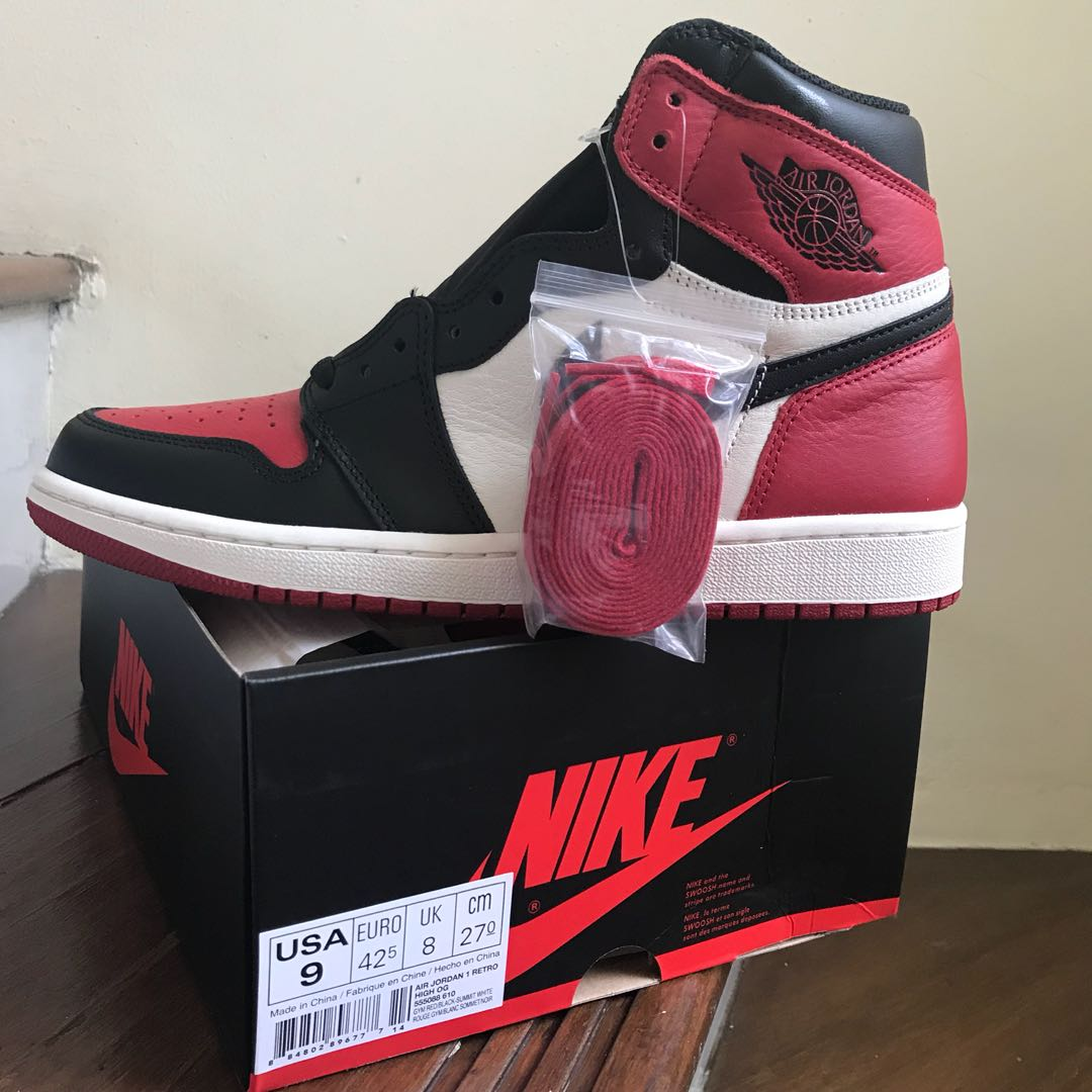 Nike Air Jordan 1 Bred Toe size 42.5, Men's Fashion, Men's Footwear ...