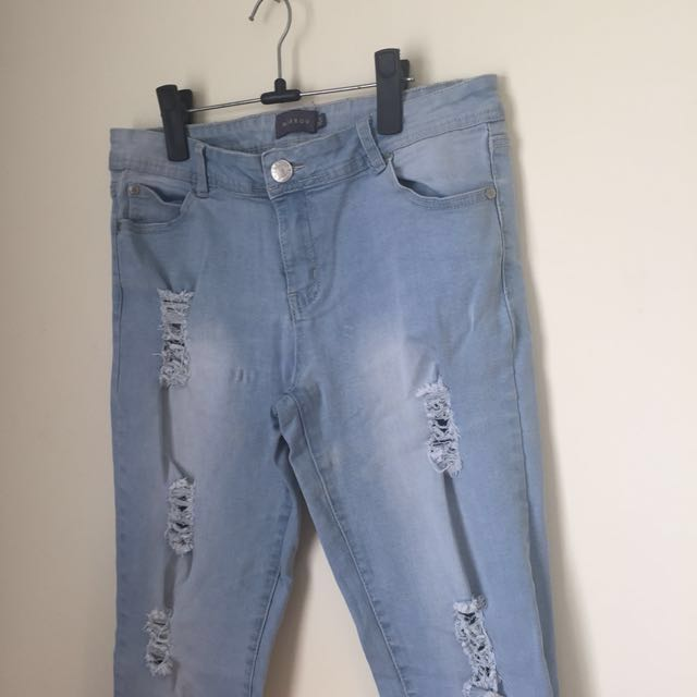 Pale Blue distressed Jeans - Size 14