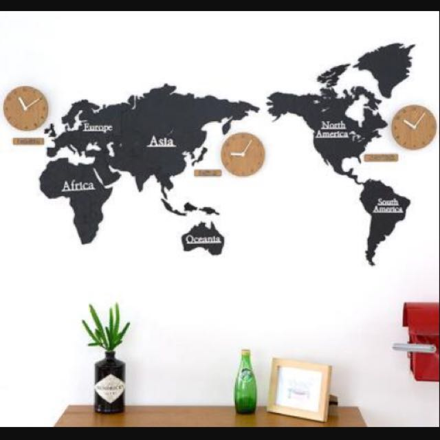 Buy World Map Clock. photo  PINJEAS MANDELA World Map Clock Home Furniture Decor on