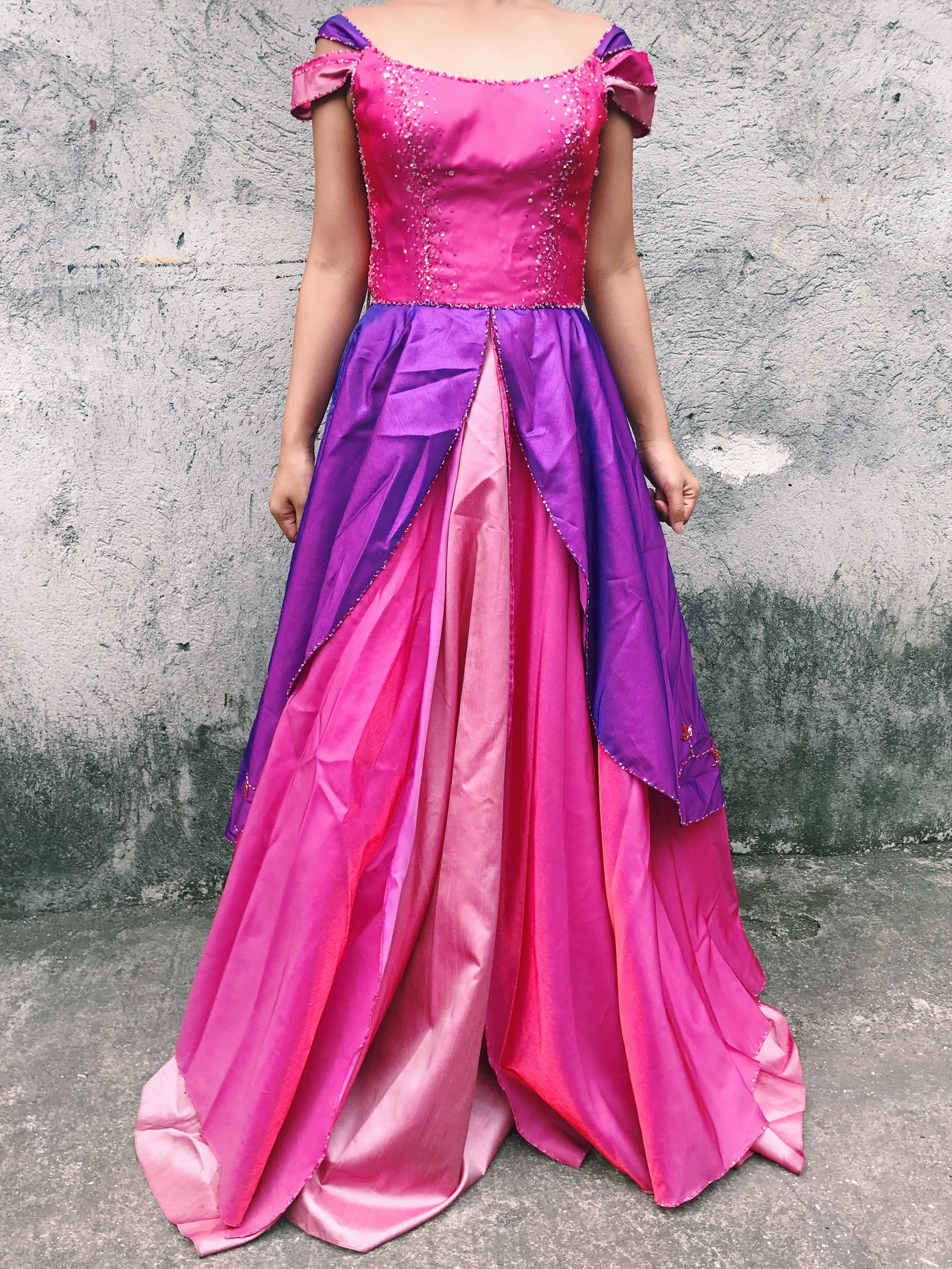 PINK / PURPLE BALL GOWN FOR RENT, Women\'s Fashion, Clothes on Carousell