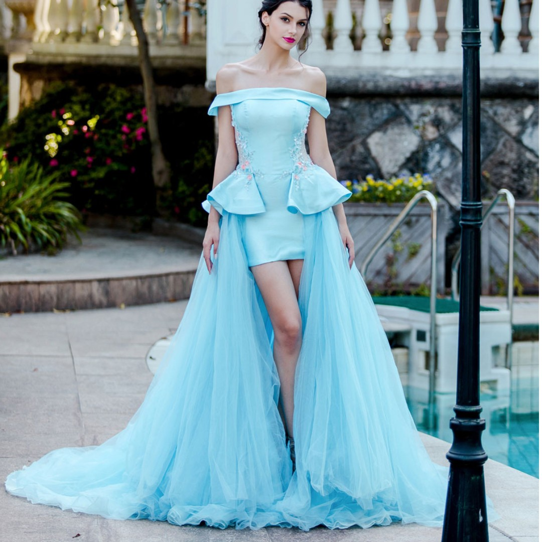 Pink/Blue Long tail short front wedding photoshoot gown, Women\'s ...