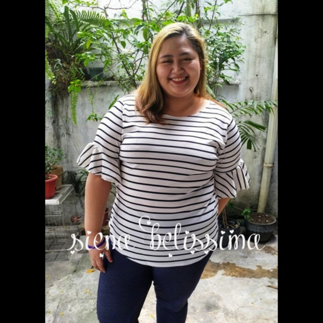 Plus size Stripes Raffled Top