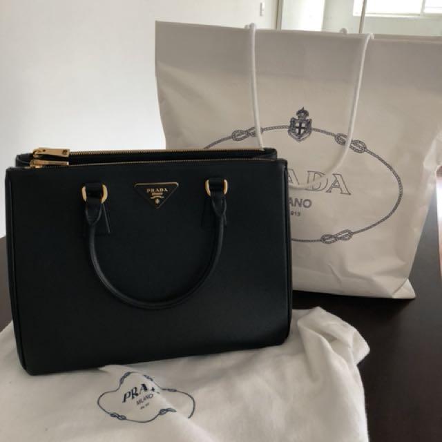 Prada Saffiano Lux Black Leather Tote With Receipt