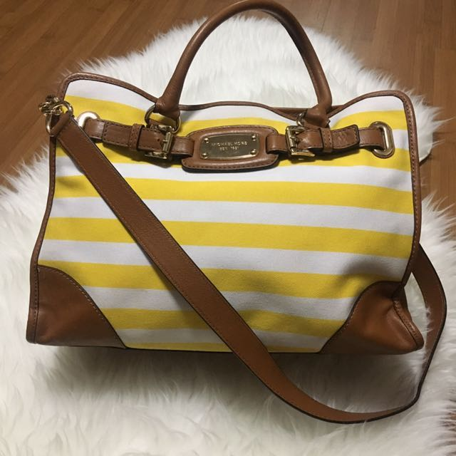 (Preloved) REPRICE! Michael Kors Hamilton EW Stripes Canvas Yellow White Tote Shoulder