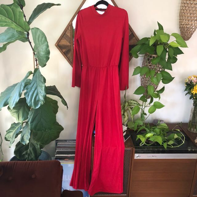 Red 70's jumpsuit 8-12