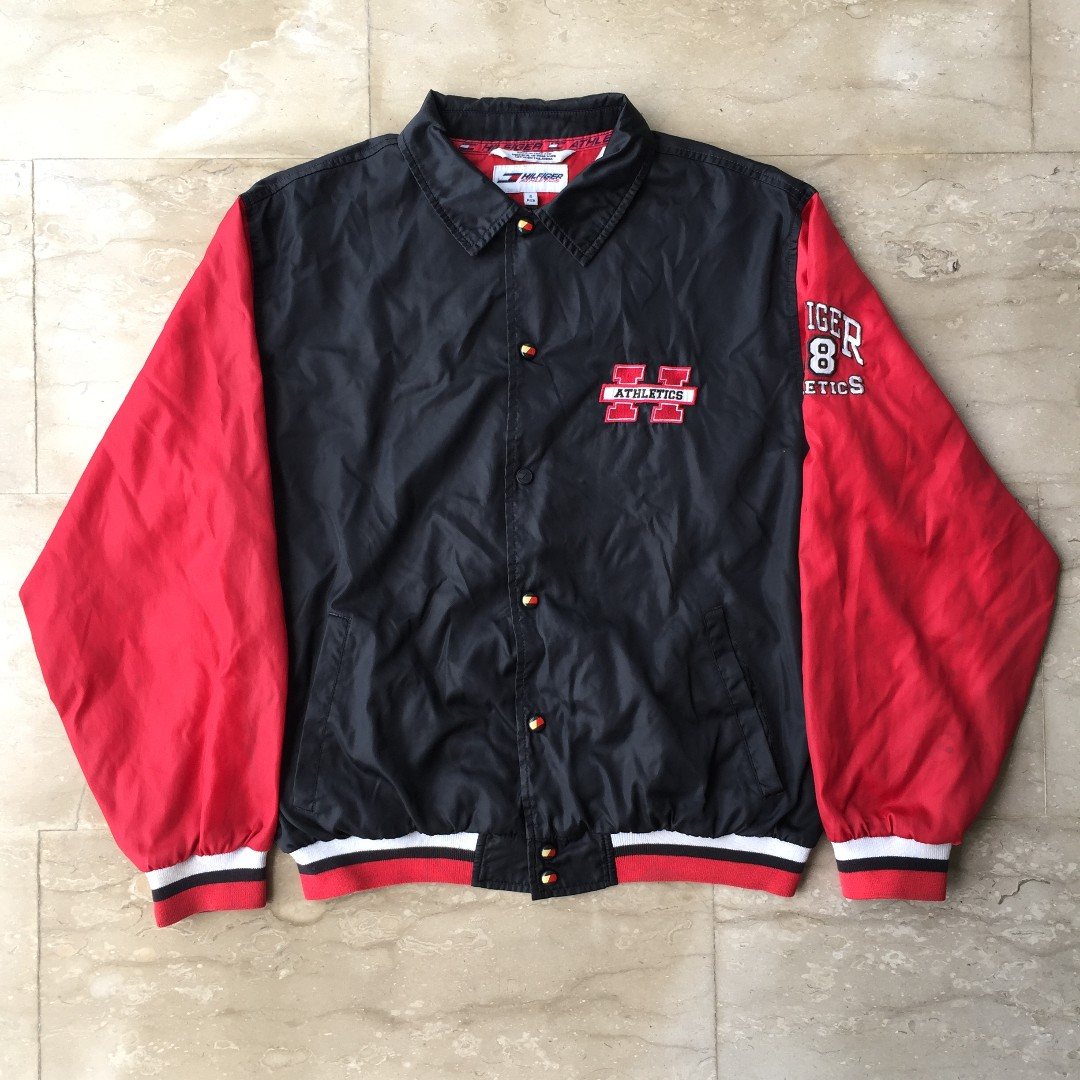 f687119ef Red and black Tommy Hilfiger Athletics varsity jacket, Men's Fashion ...