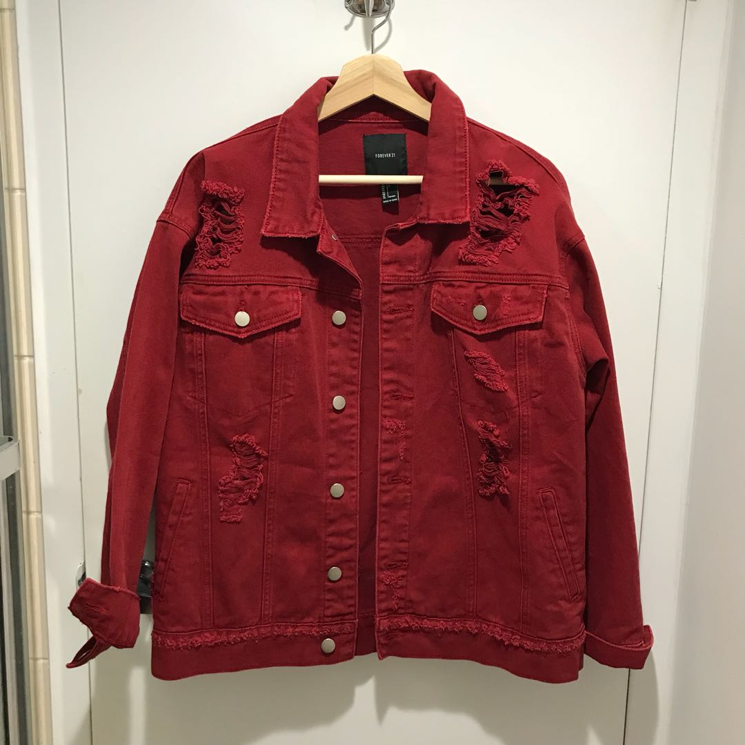 red distressed denim jacket
